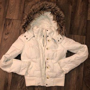 Abercrombie white puffer jacket